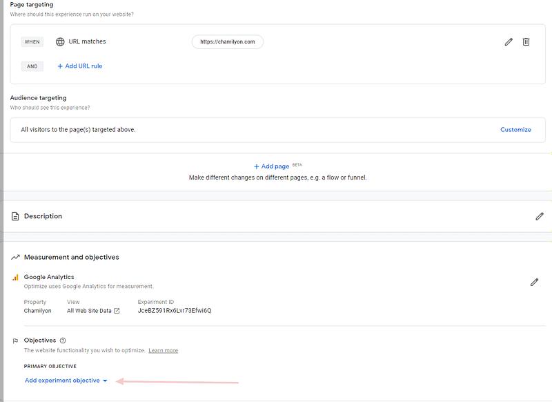 setari a/b testing cu google optimize