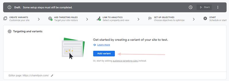 creare a/b experiment cu google optimize